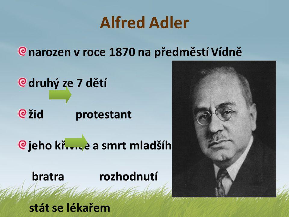 Alfred Adler 1895 začíná s praxí očního lékaře později pracuje jako praktický lékař současně se stává psychiatrem 1897 – sňatek s Raissou Epsteinovou každý má různý ideologický přístup jeho žena je mnohem radikálnější