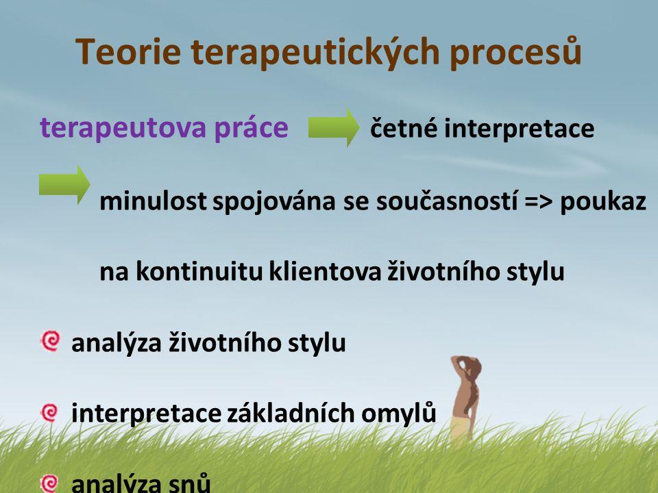 Teorie terapeutických procesů terapeutova práce četné interpretace minulost spojována se současností => poukaz na kontinuitu klientova životního stylu