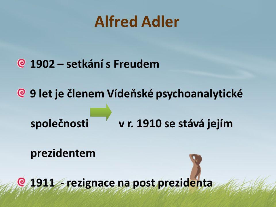 Alfred Adler Freudův nesmiřitelný protivník kritizuje Freuda za přeceňování sexuality Freud odsuzuje Adlerův důraz na účelnost a finalitu mentálních dějů 1912 – zakládá vlastní Společnost individuální psychologie