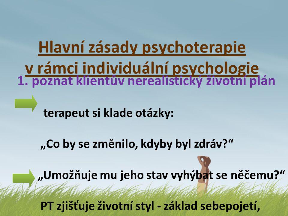 """Hlavní zásady psychoterapie v rámci individuální psychologie 1. poznat klientův nerealistický životní plán terapeut si klade otázky: """"Co by se změnilo"""