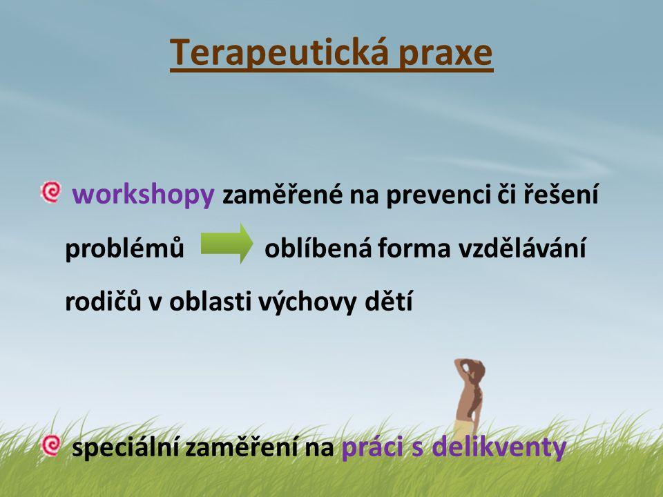 Terapeutická praxe workshopy zaměřené na prevenci či řešení problémů oblíbená forma vzdělávání rodičů v oblasti výchovy dětí speciální zaměření na prá