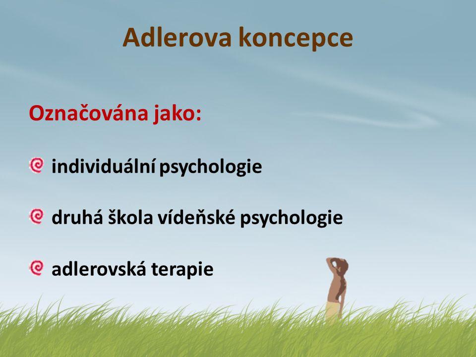 Adlerova koncepce Označována jako: individuální psychologie druhá škola vídeňské psychologie adlerovská terapie Řazena do: psychodynamické (hlubinné)