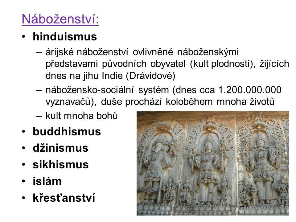 Náboženství: hinduismus –árijské náboženství ovlivněné náboženskými představami původních obyvatel (kult plodnosti), žijících dnes na jihu Indie (Dráv