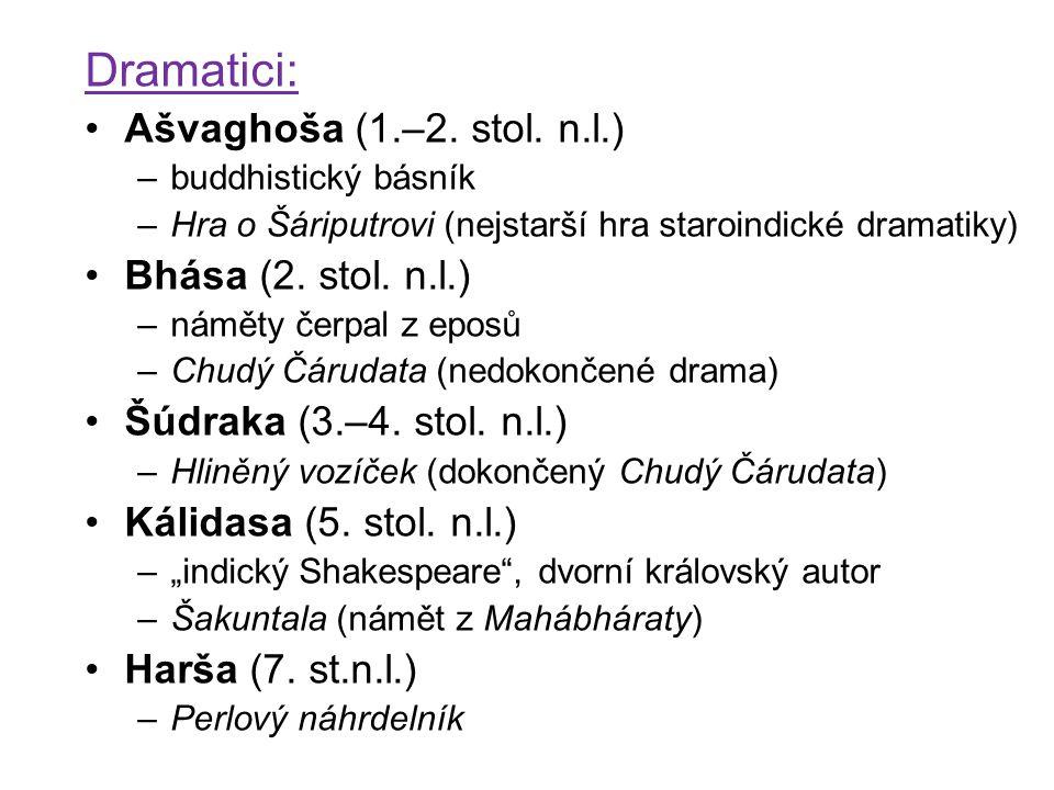 Dramatici: Ašvaghoša (1.–2. stol. n.l.) –buddhistický básník –Hra o Šáriputrovi (nejstarší hra staroindické dramatiky) Bhása (2. stol. n.l.) –náměty č
