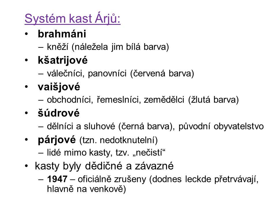 Systém kast Árjů: brahmáni –kněží (náležela jim bílá barva) kšatrijové –válečníci, panovníci (červená barva) vaišjové –obchodníci, řemeslníci, zeměděl
