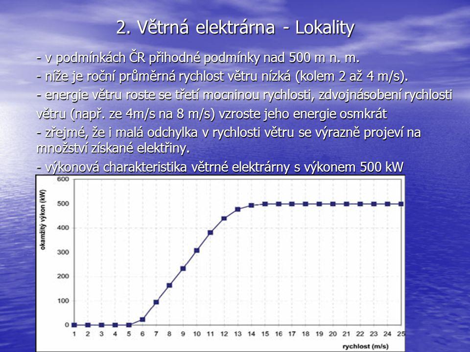 2. Větrná elektrárna - Lokality - v podmínkách ČR přihodné podmínky nad 500 m n. m. - níže je roční průměrná rychlost větru nízká (kolem 2 až 4 m/s).