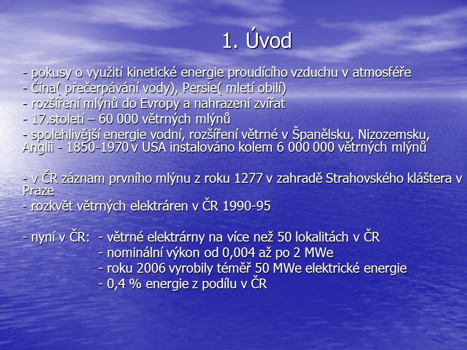 1. Úvod - pokusy o využití kinetické energie proudícího vzduchu v atmosféře - Čína( přečerpávání vody), Persie( mletí obilí) - rozšíření mlýnů do Evro
