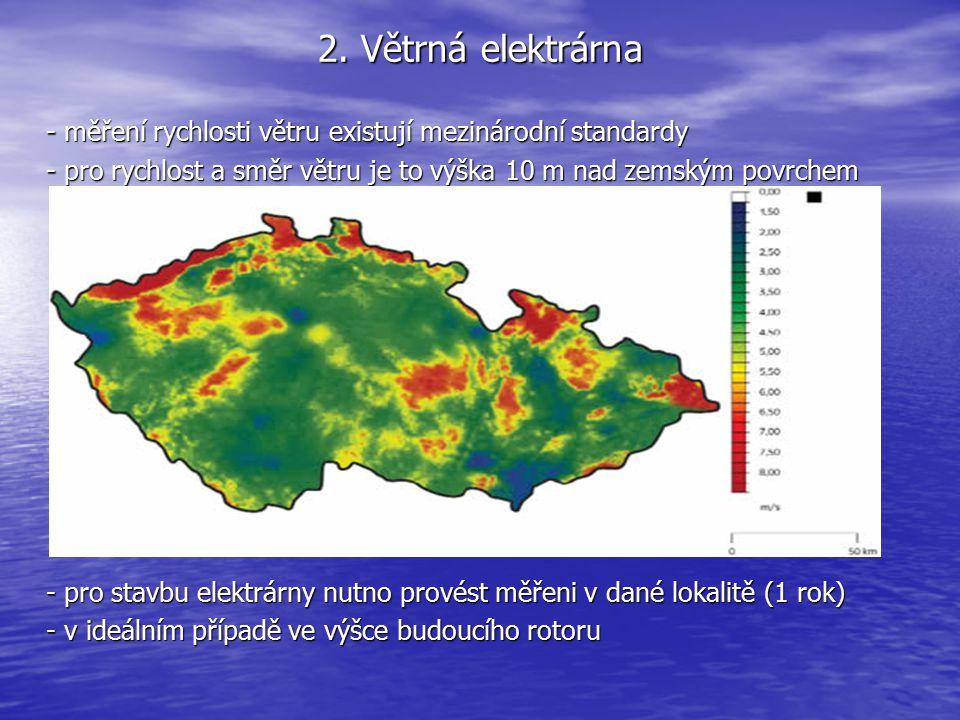 2. Větrná elektrárna - měření rychlosti větru existují mezinárodní standardy - pro rychlost a směr větru je to výška 10 m nad zemským povrchem - pro s