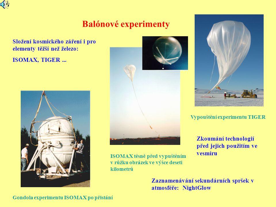 Balónové experimenty Gondola experimentu ISOMAX po přistání ISOMAX těsně před vypuštěním v růžku obrázek ve výšce deseti kilometrů Vypouštění experimentu TIGER Složení kosmického záření i pro elementy těžší než železo: ISOMAX, TIGER...