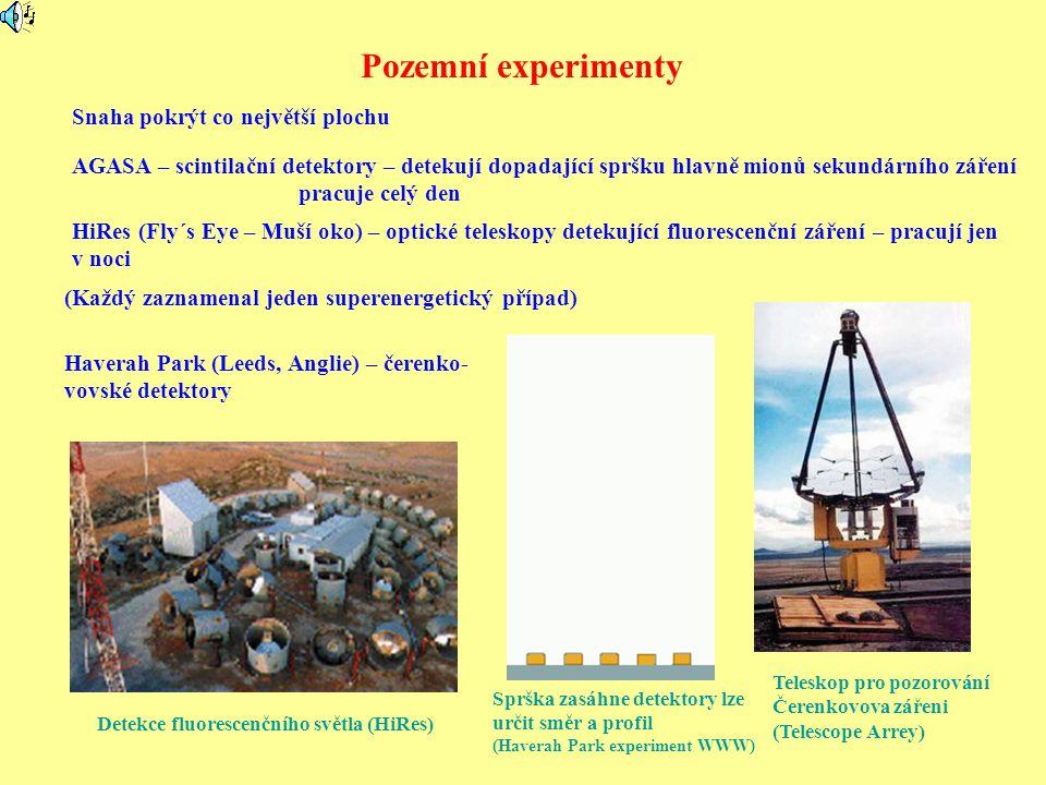 Pozemní experimenty AGASA – scintilační detektory – detekují dopadající spršku hlavně mionů sekundárního záření pracuje celý den HiRes (Fly´s Eye – Muší oko) – optické teleskopy detekující fluorescenční záření – pracují jen v noci Haverah Park (Leeds, Anglie) – čerenko- vovské detektory Detekce fluorescenčního světla (HiRes) Teleskop pro pozorování Čerenkovova zářeni (Telescope Arrey) (Každý zaznamenal jeden superenergetický případ) Snaha pokrýt co největší plochu Sprška zasáhne detektory lze určit směr a profil (Haverah Park experiment WWW)