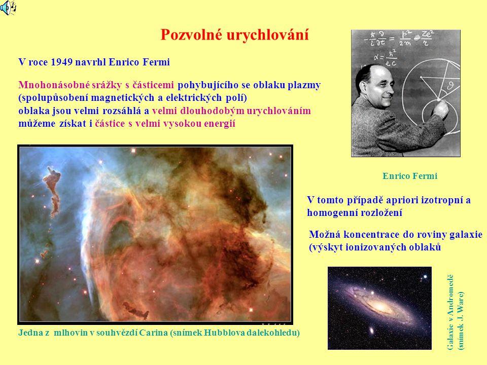 Pozvolné urychlování Enrico Fermi V roce 1949 navrhl Enrico Fermi Mnohonásobné srážky s částicemi pohybujícího se oblaku plazmy (spolupůsobení magnetických a elektrických polí) oblaka jsou velmi rozsáhlá a velmi dlouhodobým urychlováním můžeme získat i částice s velmi vysokou energií Jedna z mlhovin v souhvězdí Carina (snímek Hubblova dalekohledu) V tomto případě apriori izotropní a homogenní rozložení Možná koncentrace do roviny galaxie (výskyt ionizovaných oblaků Galaxie v Andromedě (snímek J.