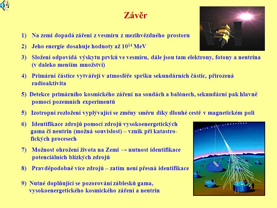 Závěr 1)Na zemi dopadá záření z vesmíru z mezihvězdného prostoru 2)Jeho energie dosahuje hodnoty až 10 14 MeV 3)Složení odpovídá výskytu prvků ve vesmíru, dále jsou tam elektrony, fotony a neutrina (v daleko menším množství) 4)Primární částice vytvářejí v atmosféře spršku sekundárních částic, přirozená radioaktivita 5) Detekce primárního kosmického záření na sondách a balónech, sekundární pak hlavně pomocí pozemních experimentů 5) Izotropní rozložení vyplývající se změny směru díky dlouhé cestě v magnetickém poli 6)Identifikace zdrojů pomocí zdrojů vysokoenergetických gama či neutrin (možná souvislost) – vznik při katastro- fických procesech 7)Možnost ohrožení života na Zemi → nutnost identifikace potenciálních blízkých zdrojů 8)Pravděpodobně více zdrojů – zatím není přesná identifikace 9) Nutné doplňující se pozorování záblesků gama, vysokoenergetického kosmického záření a neutrin