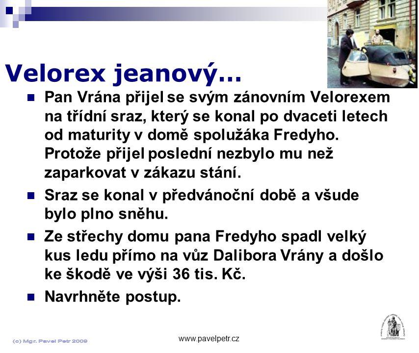 Velorex jeanový… www.pavelpetr.cz Pan Vrána přijel se svým zánovním Velorexem na třídní sraz, který se konal po dvaceti letech od maturity v domě spol