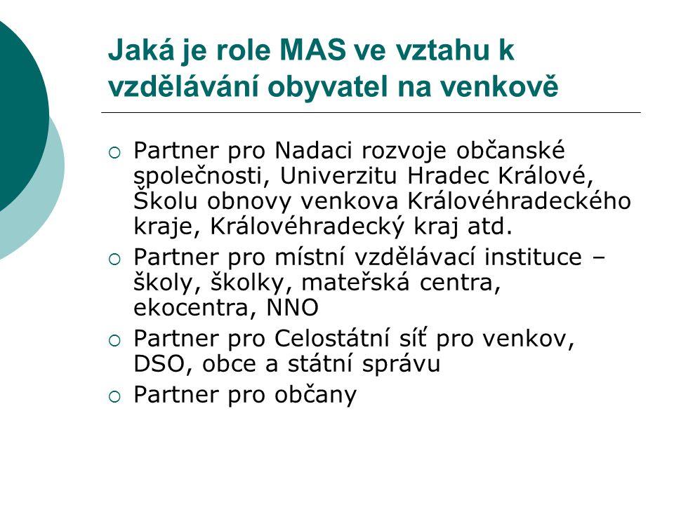Jaká je role MAS ve vztahu k vzdělávání obyvatel na venkově  Partner pro Nadaci rozvoje občanské společnosti, Univerzitu Hradec Králové, Školu obnovy venkova Královéhradeckého kraje, Královéhradecký kraj atd.
