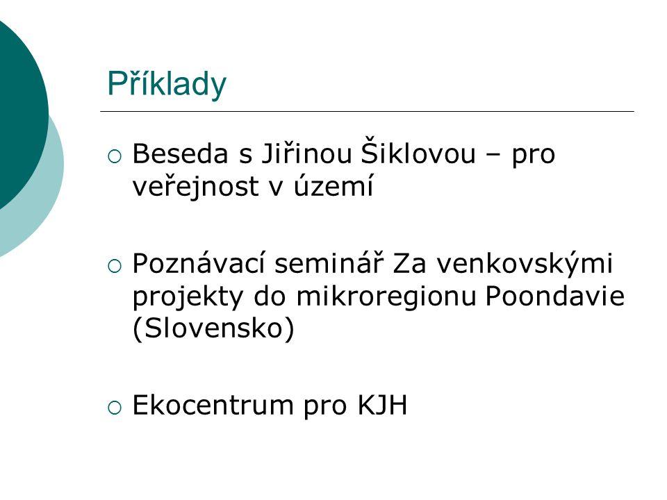 Příklady  Beseda s Jiřinou Šiklovou – pro veřejnost v území  Poznávací seminář Za venkovskými projekty do mikroregionu Poondavie (Slovensko)  Ekocentrum pro KJH
