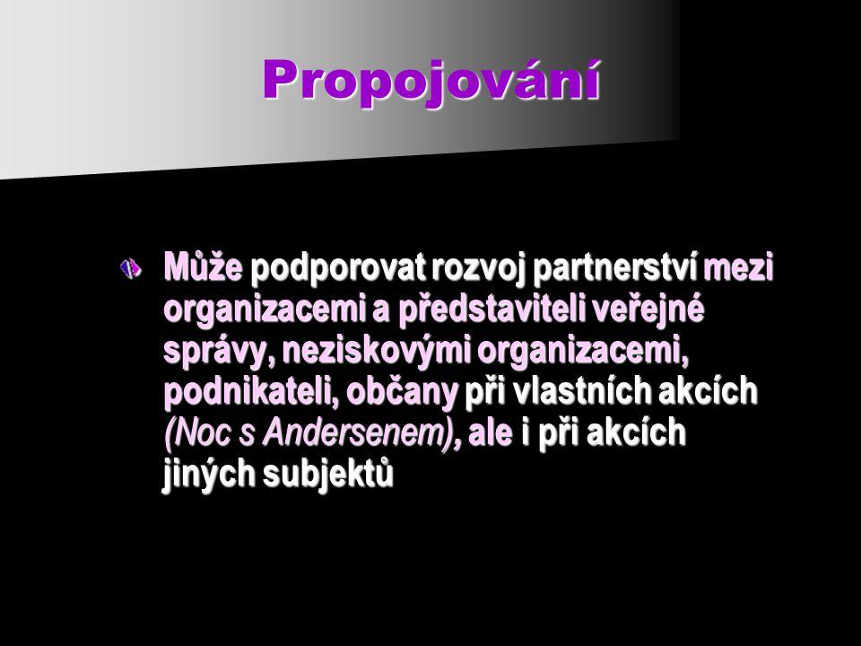 Propojování Může podporovat rozvoj partnerství mezi organizacemi a představiteli veřejné správy, neziskovými organizacemi, podnikateli, občany při vlastních akcích (Noc s Andersenem), ale i při akcích jiných subjektů