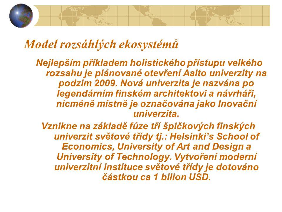 Model rozsáhlých ekosystémů Nejlepším příkladem holistického přístupu velkého rozsahu je plánované otevření Aalto univerzity na podzim 2009. Nová univ