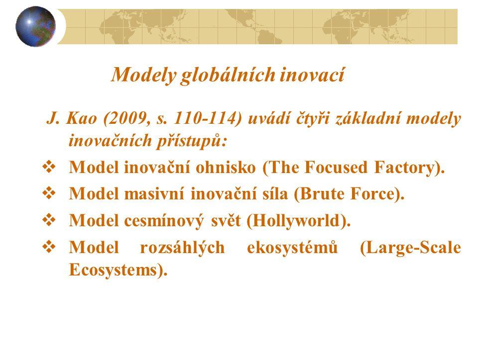 Modely globálních inovací J. Kao (2009, s. 110-114) uvádí čtyři základní modely inovačních přístupů:  Model inovační ohnisko (The Focused Factory). 