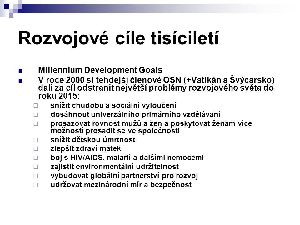 Rozvojové cíle tisíciletí Millennium Development Goals V roce 2000 si tehdejší členové OSN (+Vatikán a Švýcarsko) dali za cíl odstranit největší probl