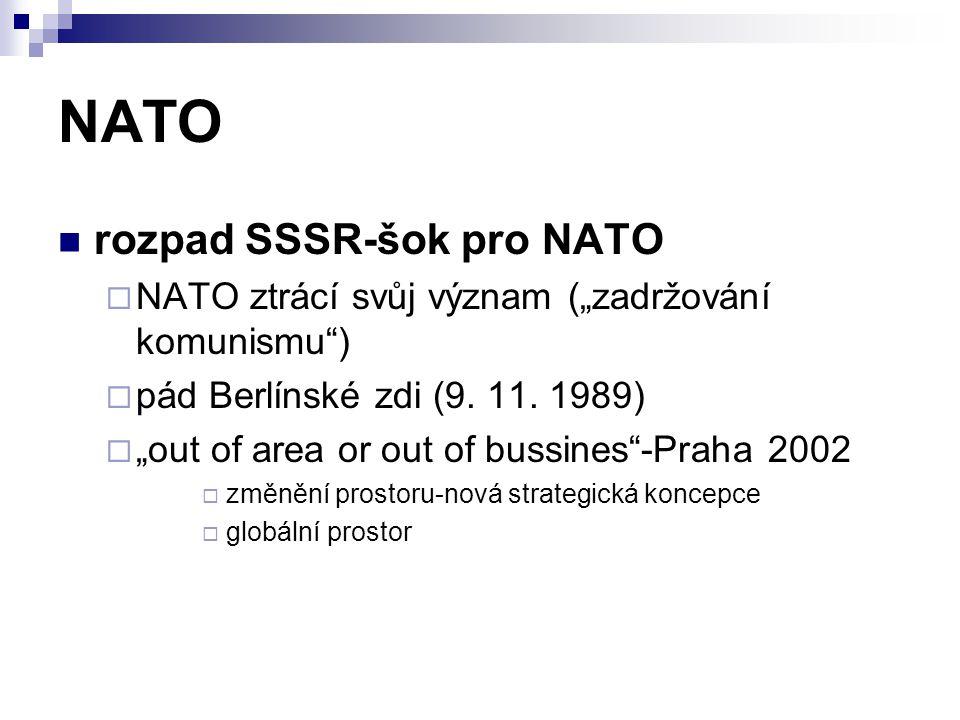 """NATO rozpad SSSR-šok pro NATO  NATO ztrácí svůj význam (""""zadržování komunismu"""")  pád Berlínské zdi (9. 11. 1989)  """"out of area or out of bussines""""-"""