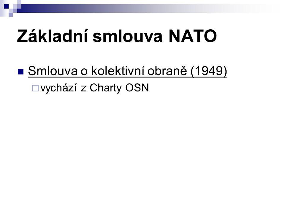 Základní smlouva NATO Smlouva o kolektivní obraně (1949)  vychází z Charty OSN