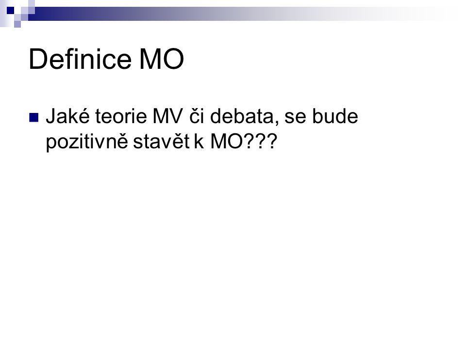 Definice MO Jaké teorie MV či debata, se bude pozitivně stavět k MO???