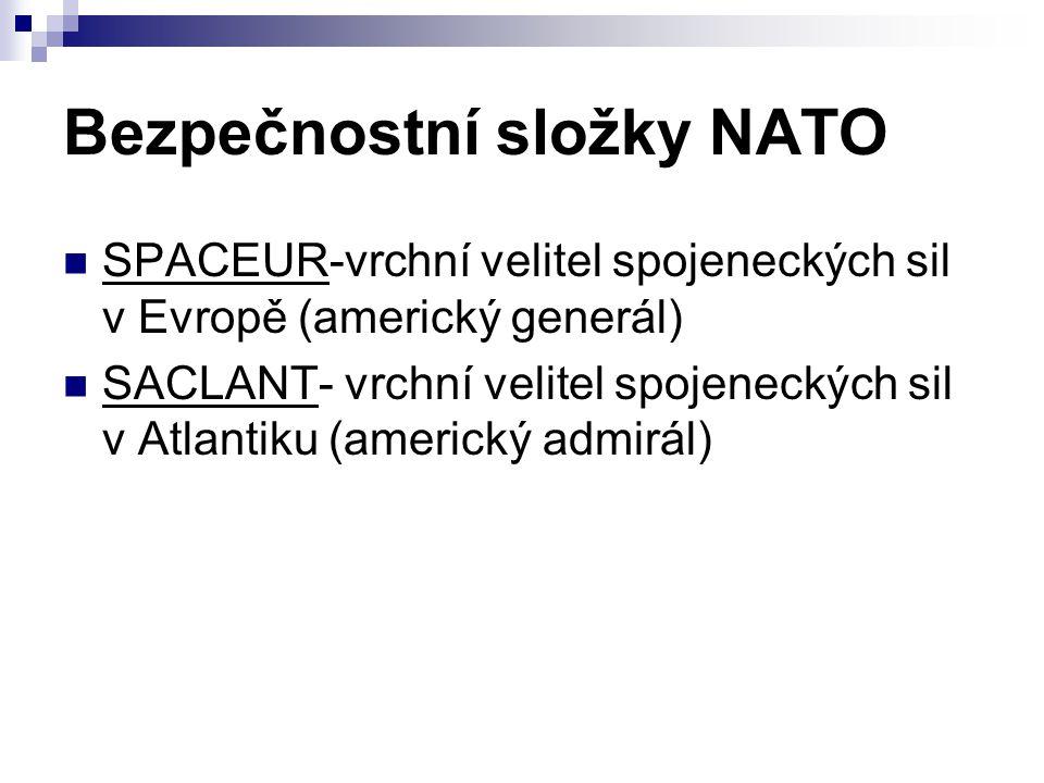 Bezpečnostní složky NATO SPACEUR-vrchní velitel spojeneckých sil v Evropě (americký generál) SACLANT- vrchní velitel spojeneckých sil v Atlantiku (ame