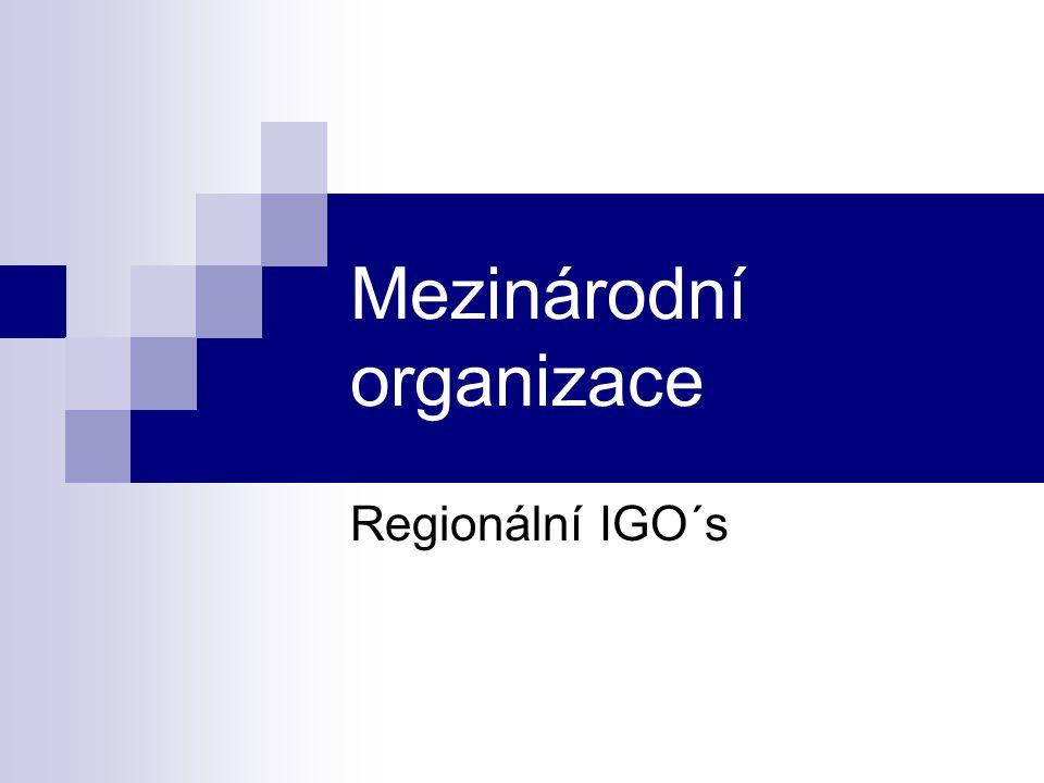 Mezinárodní organizace Regionální IGO´s