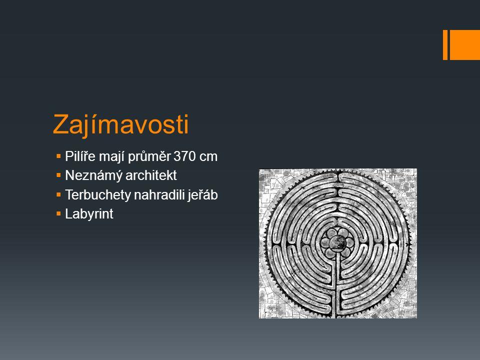 Zajímavosti  Pilíře mají průměr 370 cm  Neznámý architekt  Terbuchety nahradili jeřáb  Labyrint