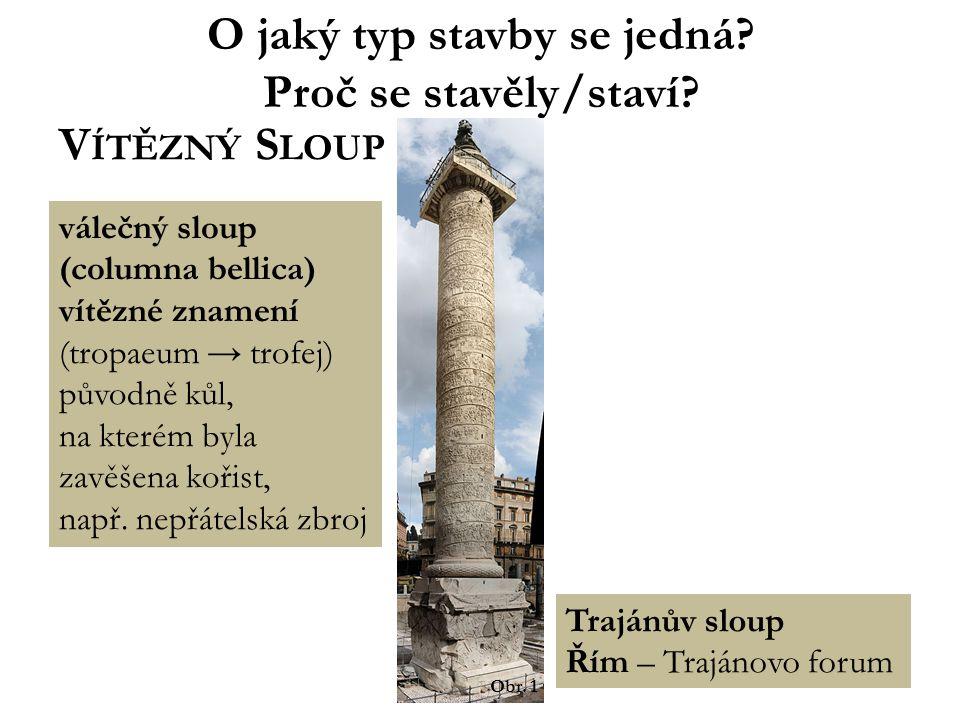 O jaký typ stavby se jedná? Proč se stavěly/staví? V ÍTĚZNÝ S LOUP Trajánův sloup Řím – Trajánovo forum válečný sloup (columna bellica) vítězné znamen