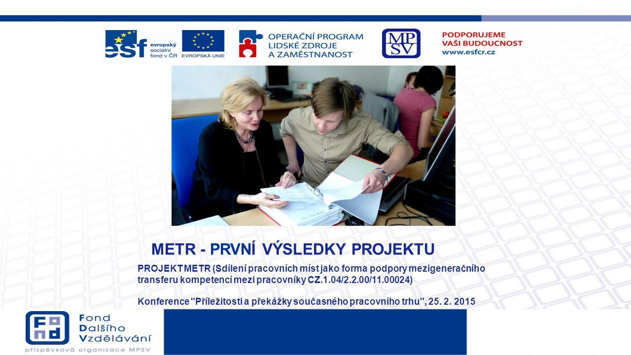 METR - PRVNÍ VÝSLEDKY PROJEKTU PROJEKT METR (Sdílení pracovních míst jako forma podpory mezigeneračního transferu kompetencí mezi pracovníky CZ.1.04/2
