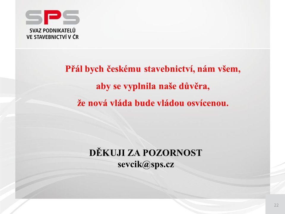 22 Přál bych českému stavebnictví, nám všem, aby se vyplnila naše důvěra, že nová vláda bude vládou osvícenou.