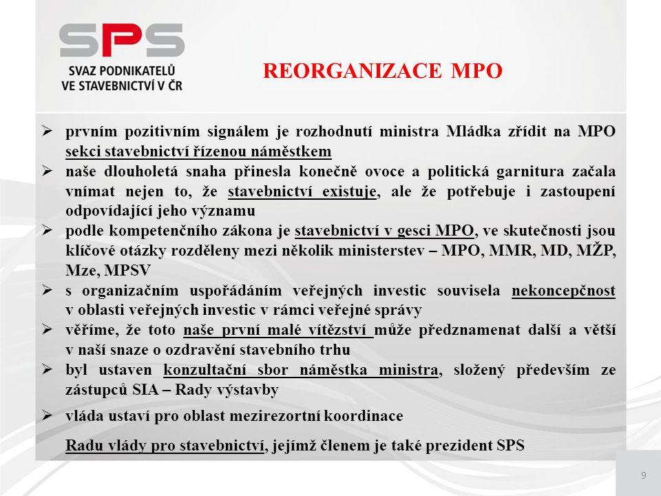 9 REORGANIZACE MPO  prvním pozitivním signálem je rozhodnutí ministra Mládka zřídit na MPO sekci stavebnictví řízenou náměstkem  naše dlouholetá snaha přinesla konečně ovoce a politická garnitura začala vnímat nejen to, že stavebnictví existuje, ale že potřebuje i zastoupení odpovídající jeho významu  podle kompetenčního zákona je stavebnictví v gesci MPO, ve skutečnosti jsou klíčové otázky rozděleny mezi několik ministerstev – MPO, MMR, MD, MŽP, Mze, MPSV  s organizačním uspořádáním veřejných investic souvisela nekoncepčnost v oblasti veřejných investic v rámci veřejné správy  věříme, že toto naše první malé vítězství může předznamenat další a větší v naší snaze o ozdravění stavebního trhu  byl ustaven konzultační sbor náměstka ministra, složený především ze zástupců SIA – Rady výstavby  vláda ustaví pro oblast mezirezortní koordinace Radu vlády pro stavebnictví, jejímž členem je také prezident SPS