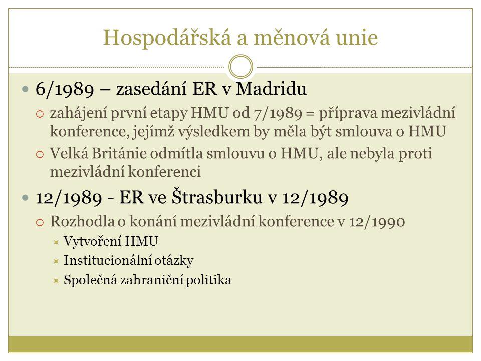 Hospodářská a měnová unie 6/1989 – zasedání ER v Madridu  zahájení první etapy HMU od 7/1989 = příprava mezivládní konference, jejímž výsledkem by měla být smlouva o HMU  Velká Británie odmítla smlouvu o HMU, ale nebyla proti mezivládní konferenci 12/1989 - ER ve Štrasburku v 12/1989  Rozhodla o konání mezivládní konference v 12/1990  Vytvoření HMU  Institucionální otázky  Společná zahraniční politika