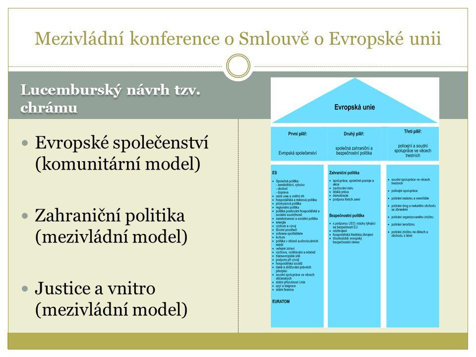 Lucemburský návrh tzv. chrámu Evropské společenství (komunitární model) Zahraniční politika (mezivládní model) Justice a vnitro (mezivládní model) Mez