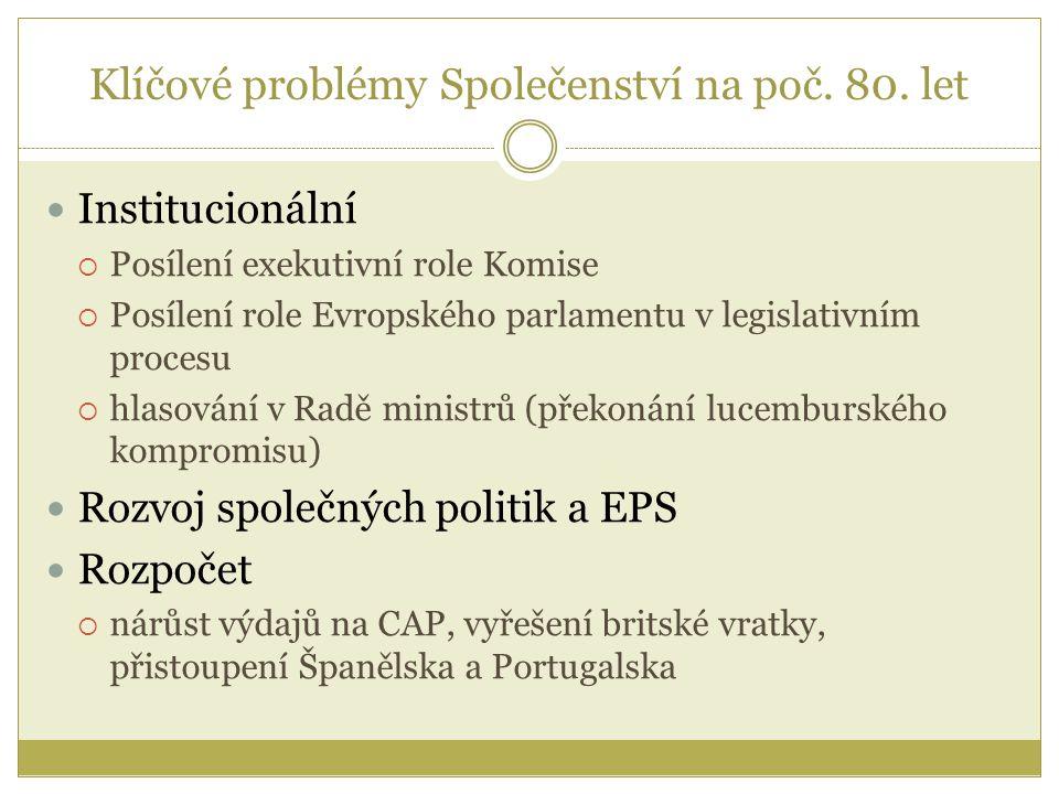Klíčové problémy Společenství na poč. 80. let Institucionální  Posílení exekutivní role Komise  Posílení role Evropského parlamentu v legislativním