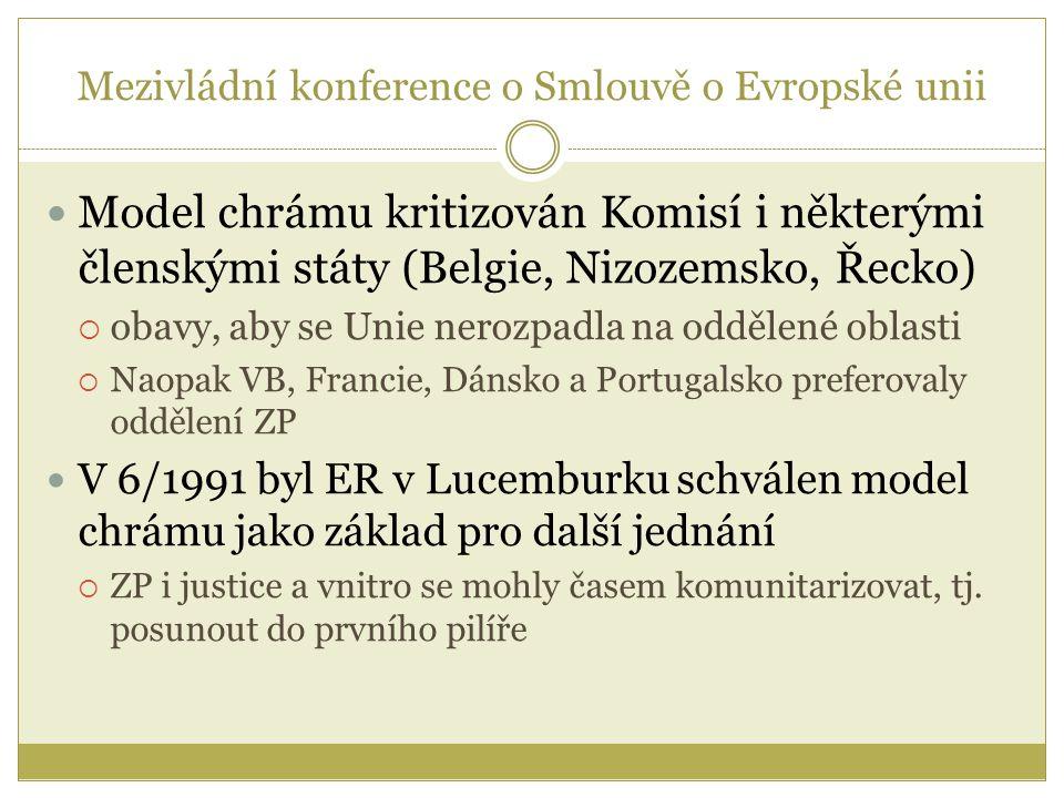 Model chrámu kritizován Komisí i některými členskými státy (Belgie, Nizozemsko, Řecko)  obavy, aby se Unie nerozpadla na oddělené oblasti  Naopak VB, Francie, Dánsko a Portugalsko preferovaly oddělení ZP V 6/1991 byl ER v Lucemburku schválen model chrámu jako základ pro další jednání  ZP i justice a vnitro se mohly časem komunitarizovat, tj.