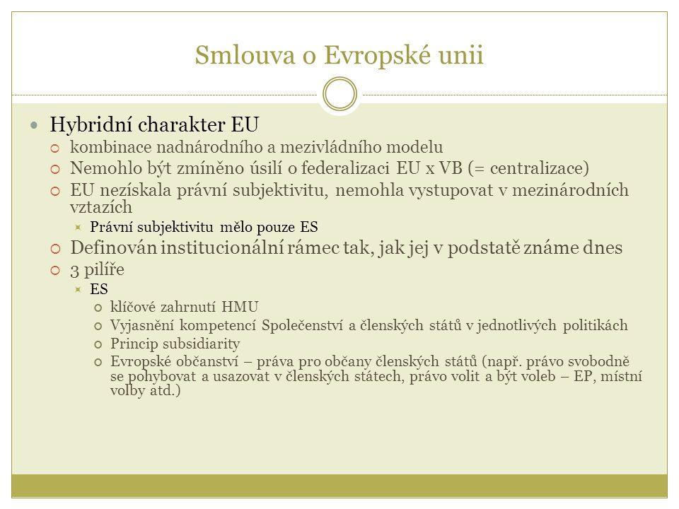 Smlouva o Evropské unii Hybridní charakter EU  kombinace nadnárodního a mezivládního modelu  Nemohlo být zmíněno úsilí o federalizaci EU x VB (= centralizace)  EU nezískala právní subjektivitu, nemohla vystupovat v mezinárodních vztazích  Právní subjektivitu mělo pouze ES  Definován institucionální rámec tak, jak jej v podstatě známe dnes  3 pilíře  ES klíčové zahrnutí HMU Vyjasnění kompetencí Společenství a členských států v jednotlivých politikách Princip subsidiarity Evropské občanství – práva pro občany členských států (např.