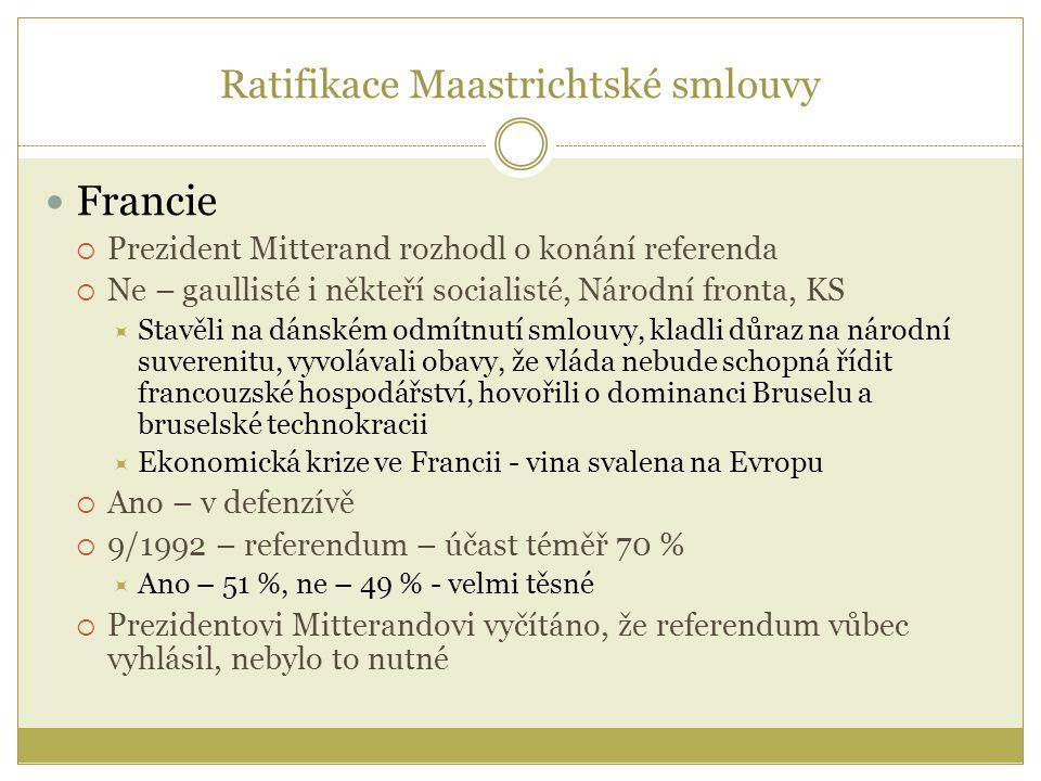 Ratifikace Maastrichtské smlouvy Francie  Prezident Mitterand rozhodl o konání referenda  Ne – gaullisté i někteří socialisté, Národní fronta, KS 