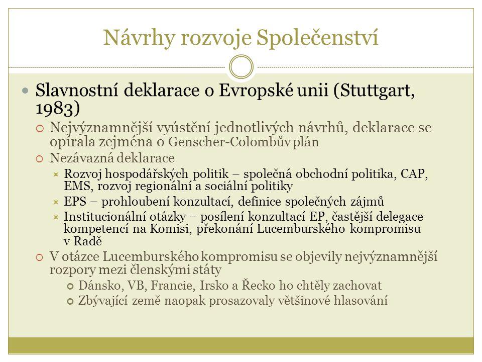 Návrhy rozvoje Společenství Slavnostní deklarace o Evropské unii (Stuttgart, 1983)  Nejvýznamnější vyústění jednotlivých návrhů, deklarace se opírala