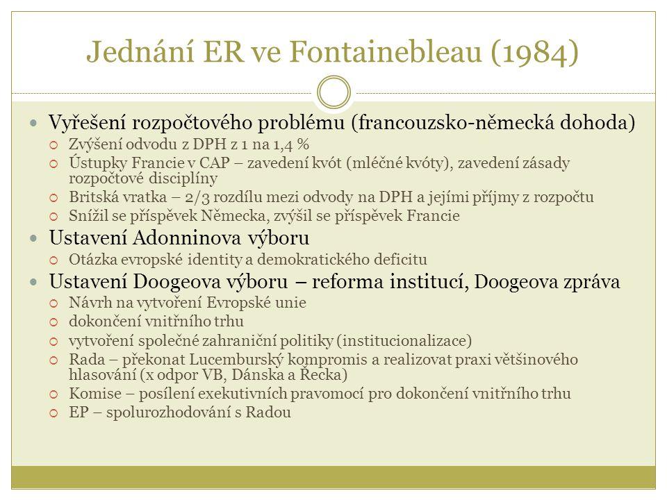 Jednání ER ve Fontainebleau (1984) Vyřešení rozpočtového problému (francouzsko-německá dohoda)  Zvýšení odvodu z DPH z 1 na 1,4 %  Ústupky Francie v