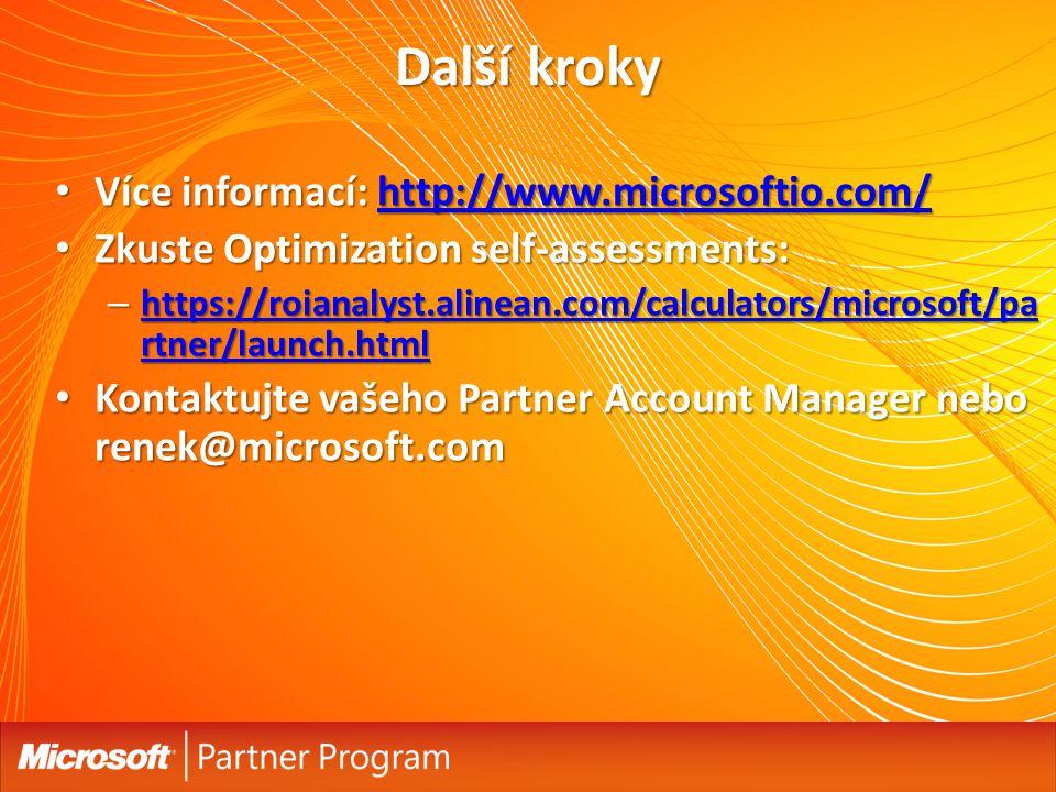 Další kroky Více informací: http://www.microsoftio.com/ Více informací: http://www.microsoftio.com/http://www.microsoftio.com/ Zkuste Optimization sel