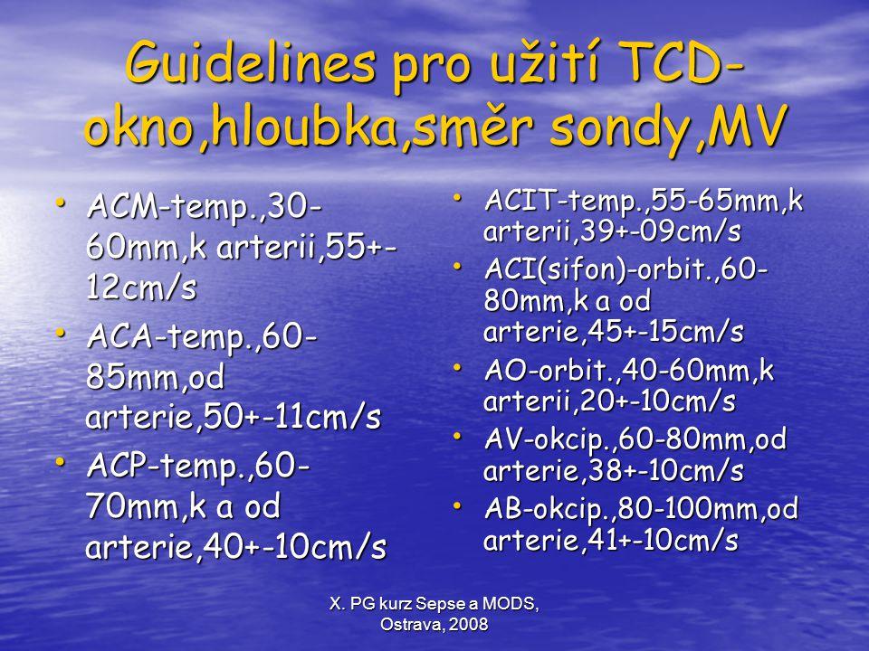X. PG kurz Sepse a MODS, Ostrava, 2008 Guidelines pro užití TCD- okno,hloubka,směr sondy,MV ACM-temp.,30- 60mm,k arterii,55+- 12cm/s ACM-temp.,30- 60m
