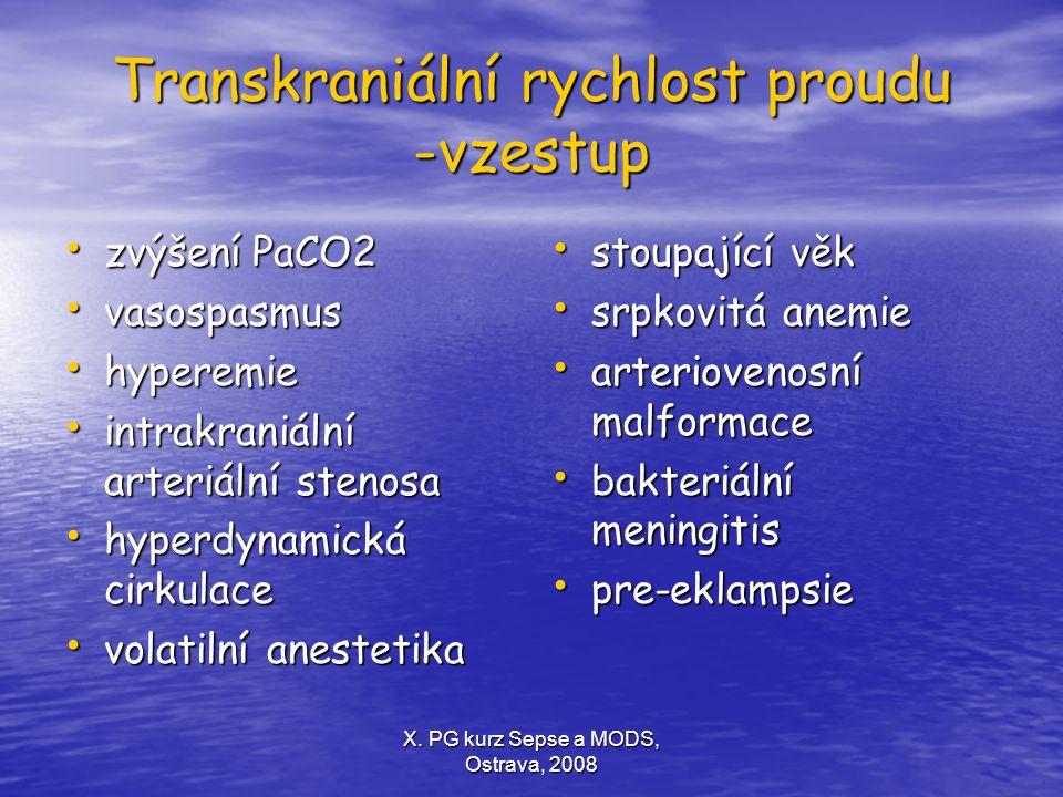 X. PG kurz Sepse a MODS, Ostrava, 2008 Transkraniální rychlost proudu -vzestup zvýšení PaCO2 zvýšení PaCO2 vasospasmus vasospasmus hyperemie hyperemie