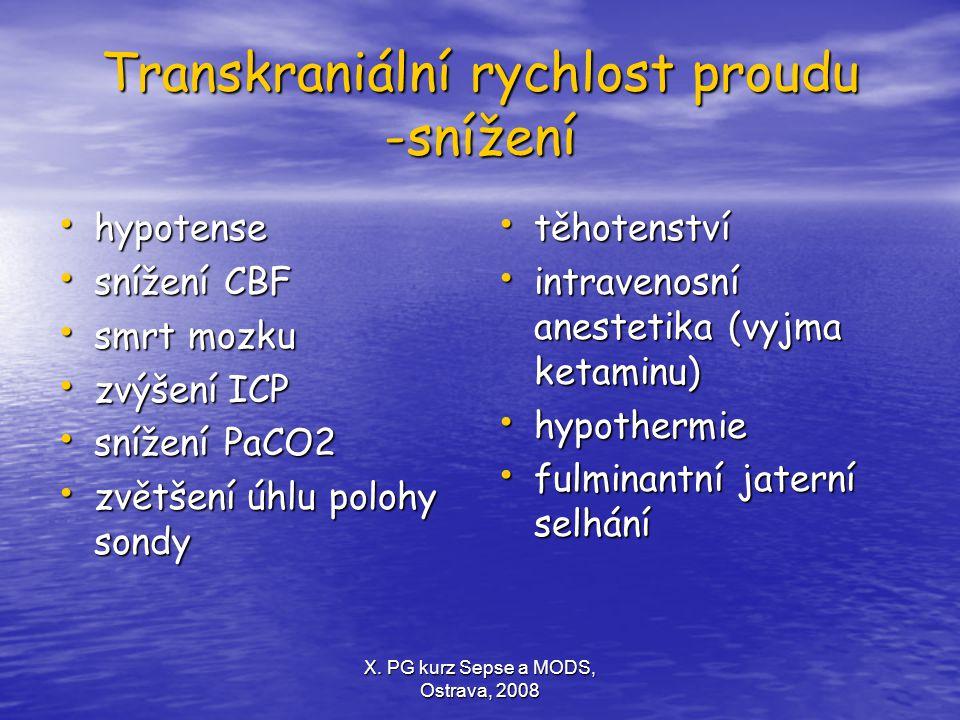 X. PG kurz Sepse a MODS, Ostrava, 2008 Transkraniální rychlost proudu -snížení hypotense hypotense snížení CBF snížení CBF smrt mozku smrt mozku zvýše