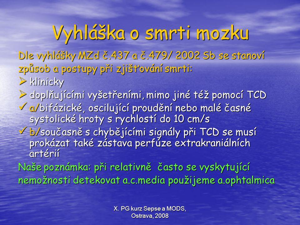 X. PG kurz Sepse a MODS, Ostrava, 2008 Vyhláška o smrti mozku Dle vyhlášky MZd č.437 a č.479/ 2002 Sb se stanoví způsob a postupy při zjišťování smrti