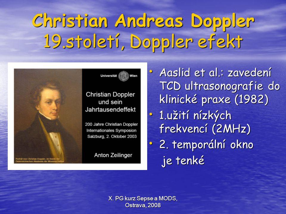 X. PG kurz Sepse a MODS, Ostrava, 2008 Christian Andreas Doppler 19.století, Doppler efekt Aaslid et al.: zavedení TCD ultrasonografie do klinické pra
