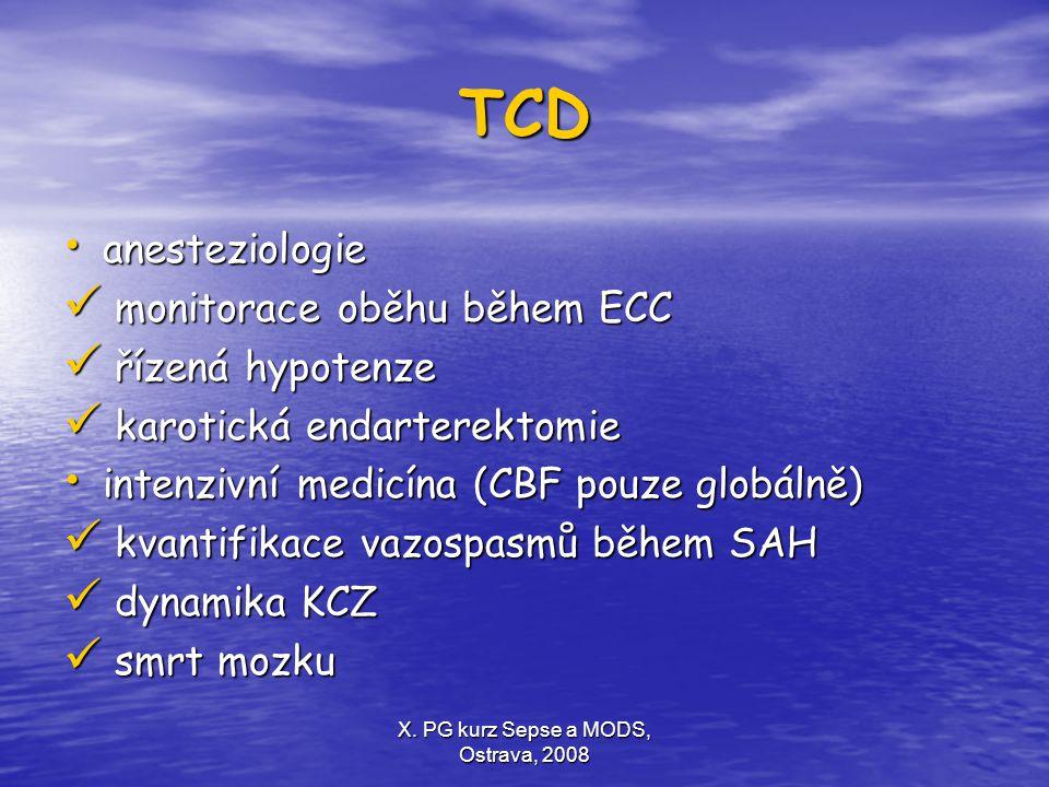 X. PG kurz Sepse a MODS, Ostrava, 2008 TCD anesteziologie anesteziologie monitorace oběhu během ECC monitorace oběhu během ECC řízená hypotenze řízená