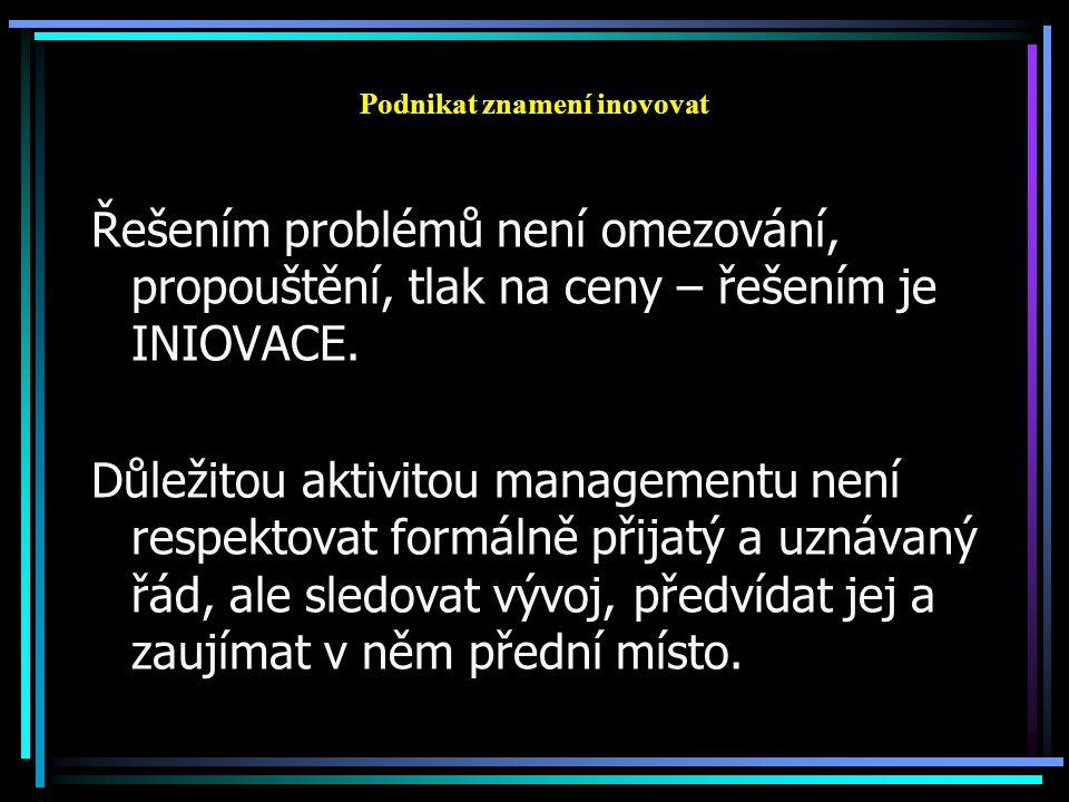 Podnikat znamení inovovat Řešením problémů není omezování, propouštění, tlak na ceny – řešením je INIOVACE.