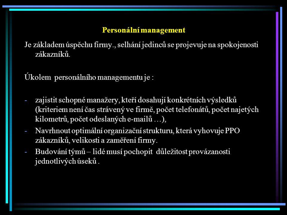 Personální management Je základem úspěchu firmy., selhání jedinců se projevuje na spokojenosti zákazníků.